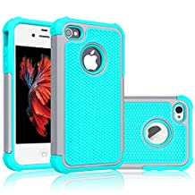 iPhone 4S Case, Tekcoo(TM) [Tmajor Series] iPhone 4 / 4S Case Shock Absorbing Hybrid Best Impact Defender Rugged Slim Grip Bumper Cover Shell w/ Plastic Outer & Rubber Silicone Inner [Gray/Turquoise]