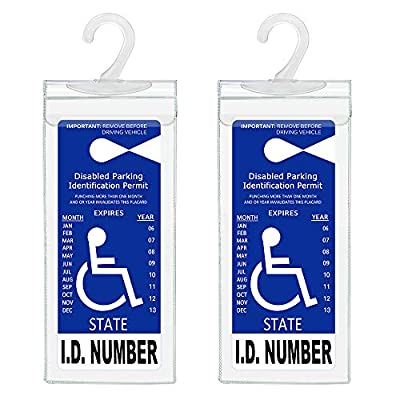 Handicap Parking Placard Holder, Ultra Transparent Disabled Parking Permit Placard Protective Holder Cover with Large Hanger by Tbuymax (Set of 2): Automotive
