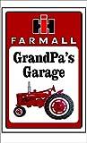 Farmall Tractor Grandpa's Garage Sign Personalize for Free (10 inch x 14 inch)