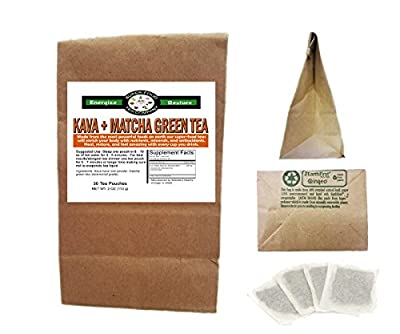 Kava + Matcha Green Tea - 30 Tea Bags - Stress Anxiety Focus Relaxation Calm