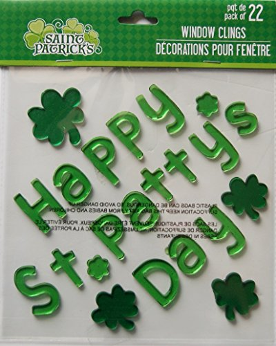 Holiday St. Patricks Day Happy St. Pattys Day Gel Window Clings - 22 Piece