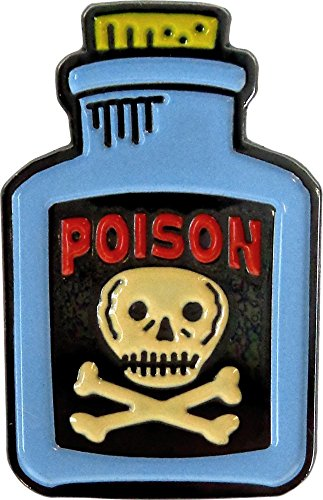 Blue Bottle of Poison with Skull and Crossbones Enamel Pin - Pin Crossbones