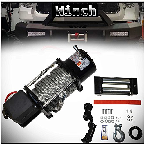 WIN-2X 1pc Brand New Universal DC 12V 15000lb / 6801kg Capacity Electric Waterproof Recovery Winch Kit With Wireless Remote Control Switch For Pickup Van Trailer RV Bus Train & Multiple Applications