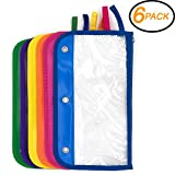 Emraw Zipper Pencil Pouch with 3-Ring Grommet Holes - Pencil case with Clear Window for Binder & Zipper Pouch (6-Pack)