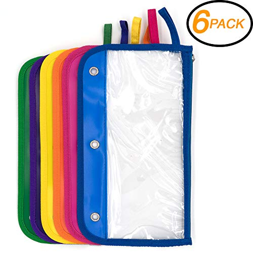 Emraw Zipper Pencil Pouch with 3-Ring Grommet Holes - Pencil case with Clear Window for Binder & Zipper Pouch (6-Pack) by Emraw