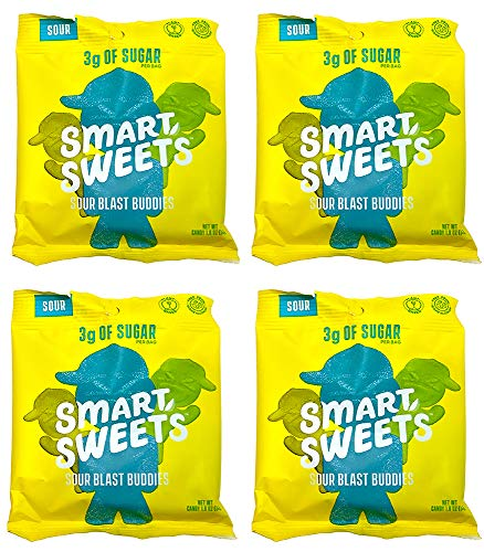 Stevia Sweetened Sour Buddies Gummy Vegan & Gluten Free Candy Low Sugar, Low Carbs Pack of 4 (1.8 Ounce)