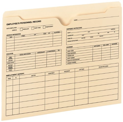 - Smead Employee Record File Jacket, Reinforced Straight-Cut Tab, Flat-No Expansion, Letter Size, Manila, 20 per Pack (77100 )