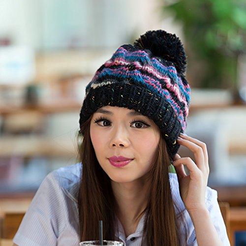 Colores versión de para Invierno de Curling otoño Beige Lana Tapa BLACK Coreana Maozi de Damas Mezclados Punto XqfxdX