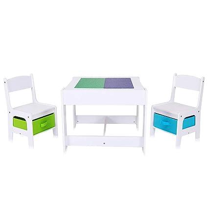 Baby Vivo Set Niños Actividad Mesa con 2 Sillas Infantil Escritorio Juego Cajas Niña y Niño Hecho de Madera - Moritz