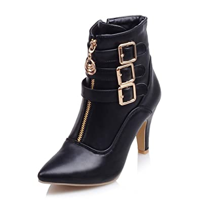 Meotina Women Ankle Boots High Heels Buckle Pointed Toe (4 699ea1eec30d