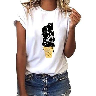 BOBOLover Camiseta con Estampado de Gatos para Mujer Blusa de Manga Corta Suelta Casual Tops sin Mangas: Amazon.es: Ropa y accesorios