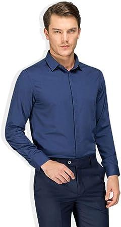QJXSAN Camisa de Negocios for Hombre, Botón Delgado de Seda de Hielo Camisa Informal Cómoda Traje de Reunión Banquete (Color : Blue, Size : M): Amazon.es: Hogar