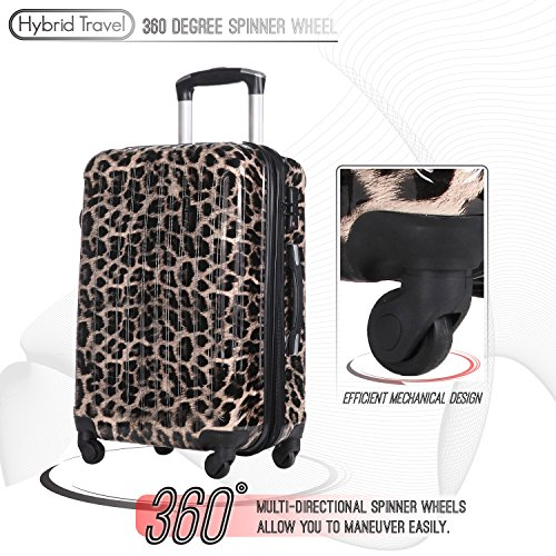 3 PC Luggage Set Durable Lightweight Hard Case pinner Suitecase LUG3 PC07 Animal Print