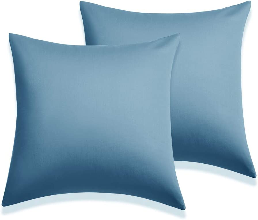 "Pillow Shams Pillow Cushion Cover Set of 2, Soft and Cozy, Wrinkle, Fade, Stain Resistant Decorative Pillow Cases (Sky Blue, Euro (26""x26""))"