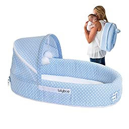 LulyBoo Baby Lounge To-Go Travel Bed in Blue Dots