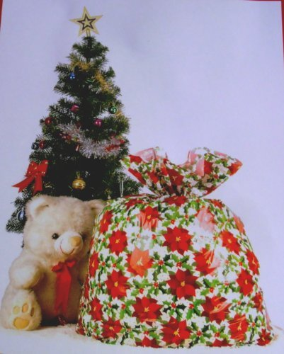 (Giant Christmas Gift Bag Gift Sack Poinsettia Design 36