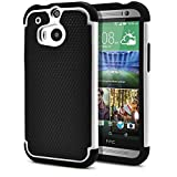 HTC One M8 Case, MagicMobile® Rugged Durable Impact Resistant Shockproof Double Layer Cover Hard Armor Shield Shell and Soft Flexible Silicone Case for HTC One 8 Color: Black - White [Compatible Only with HTC One M8]