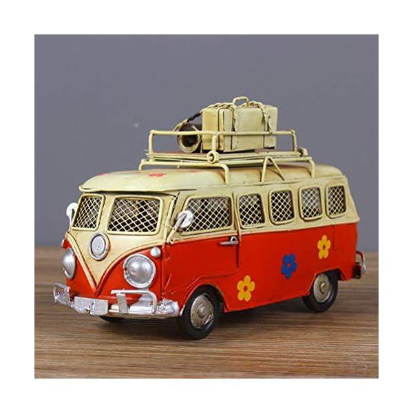 51Dj4P 6d0L VOSAREA Eisen Sparschwein Vintage Zinn Bus Kindheit Speicher Metall Kunst Geschenk Home Decoration (rot)