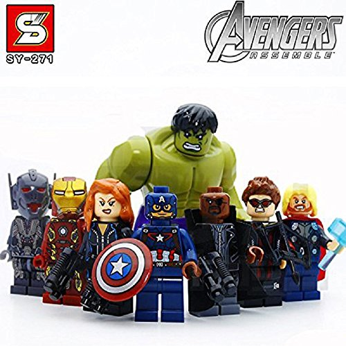 [8pcs/Set Super Heroes Marvel Assemble Avengers DC Hulk Captain America Minifigures Building Blocks Sets Bricks Mini Figures] (Clark Kent Halloween Costume Girl)