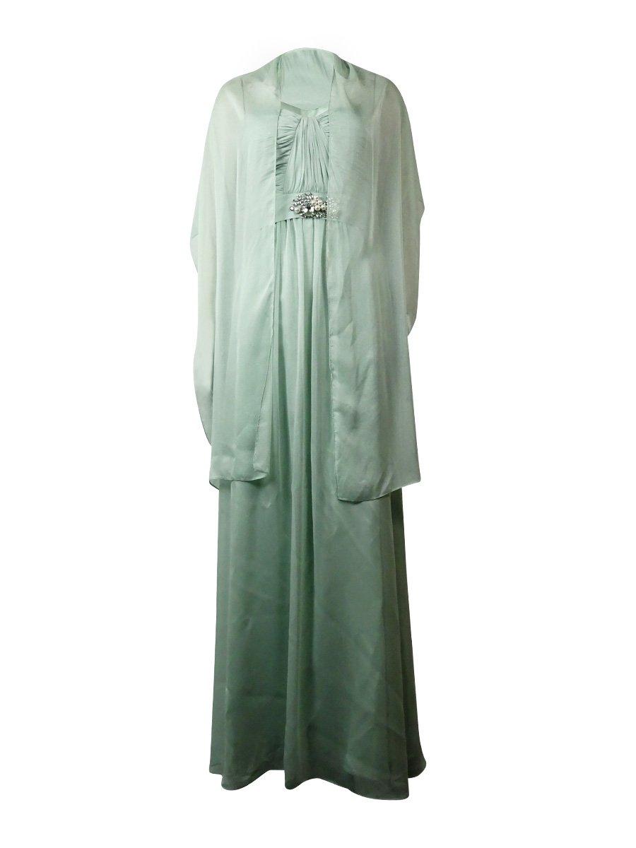 Adrianna Papell Women's Embellished Strapless Chiffon Dress w/Shawl (2, Mint)