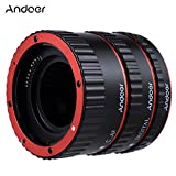Andoer Colorful Metal Electronic TTL Auto Focus Focus AF Macro Extension Tube Ring for Canon EOS EF EF-S 60D 7D 5D II 550D Red