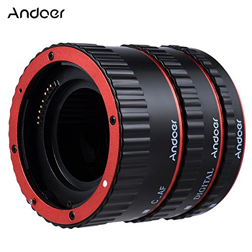 Andoer Colorful Metal Electronic TTL Auto Focus Focus AF Macro Extension Tube Ring for Canon EOS EF EF-S 60D 7D 5D II 550D Red - Ttl Auto