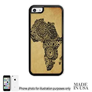 Africa African Flag Art Map #2 Design Print by L Kayon iPhone 5C Case - BLACK RUBBER Unique Design Gifts