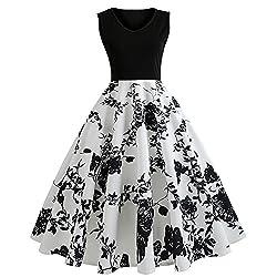 Ndjqer Women Summer Dress Sleeveless V Neck Vintage Dress Elegant Party Dress Plus Size 011 S