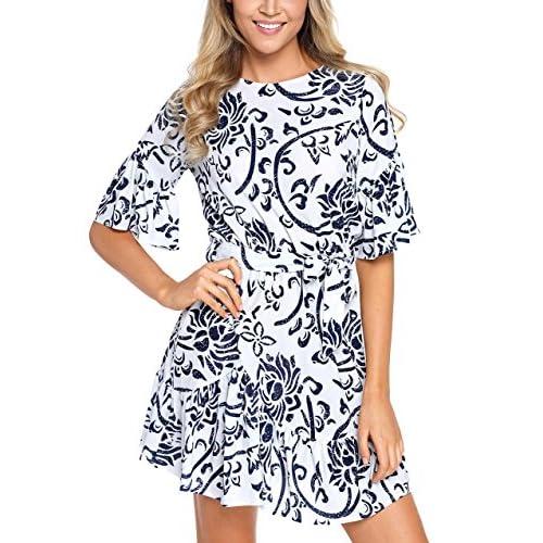 Cheap ELEGZO Women Floral Pattern Ruffle Hem Print Chiffon Tunic Dress