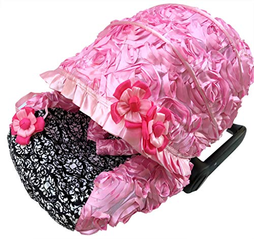Rosy Kids Infant Carseat Canopy Cover 3pc Whole Caboodle, Baby Car Seat Cover Outdoor Kit, 3D Rosette Fabric, Baby Pink Damask Print