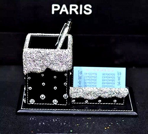 TISHAA Multifunction Crystal Bling Decoraged Black Alligator PU Leather Pencil Letter Business Card Holder and Organizer