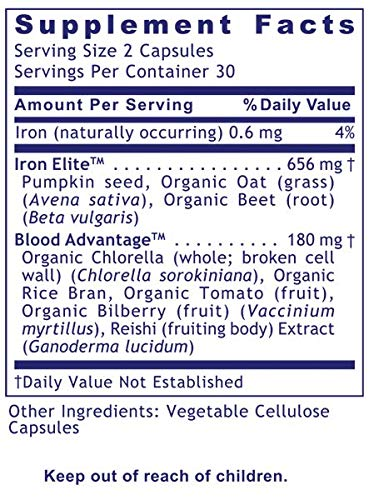 Premier Research Labs ErythroPro R, 240 VCaps, Vegan, Blood Support Formula with Live-Source Iron Support Featuring Iron Elite TM