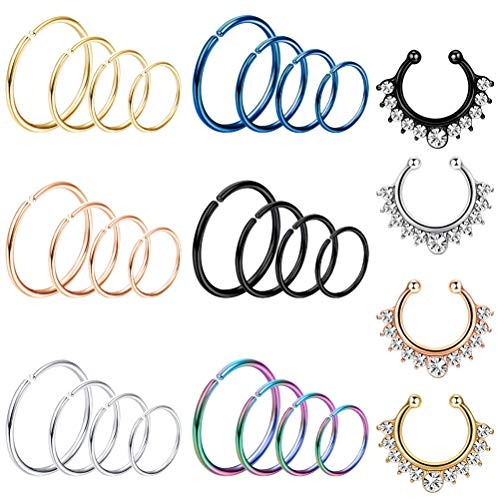 Ring Piercing (LOYALLOOK 20G 15-28PCS Stainless Steel Fake Septum Ring Nose Hoop Piercing Clicker Ring Septum Retainer Set Body Jewelry Piercing)