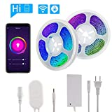 Smart LED Strip Lights, 32.8Ft Waterproof Alexa-Enabled/Google Assistant Voice Control Smart Phone Controlled Flexible SMD 5050 RGB LED Tape Light Kit Compatible with Android and iOS (400'/32.8Ft)