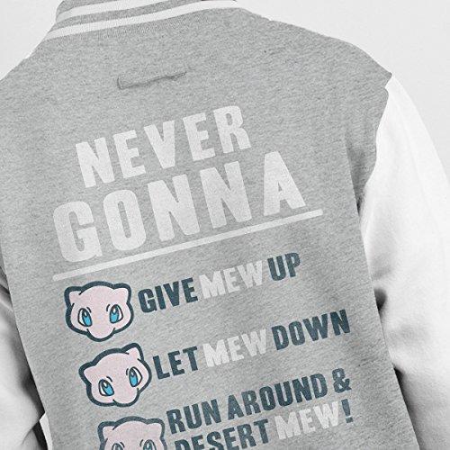 Never white Jacket Heather Mew Pokemon Up Varsity Give Gonna Grey Men's w6qraRwA