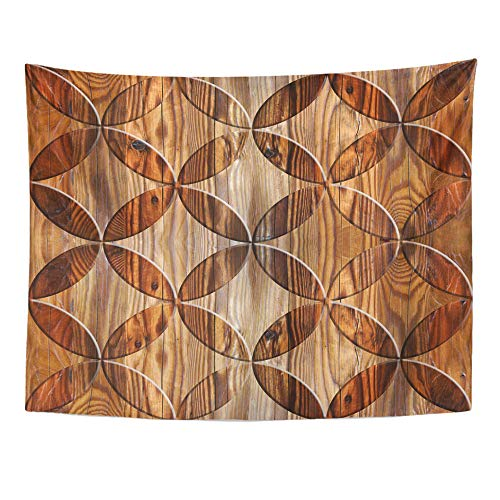 Emvency Tapestry Wall Hanging Aging Interior Design Paneling Pattern Abstract Material Oriental Wood Block 50