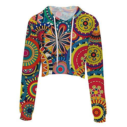 Donna Immagine Corto Shirt High T Colore Waist di Maniche DAMENGXIANG con Button Belly Stile Lunghe A6xdZdfzwq