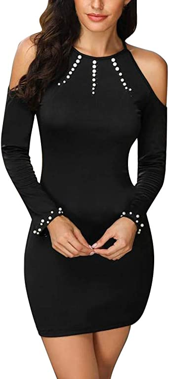 Anliyou Mini sukienka na imprezę, damska, podkreślająca figurę, zawijana sukienka z syntetycznymi perłami, czarna sukienka z dzianiny, sukienka z dzianiny, szydełkowana, na imprezę, do klubu