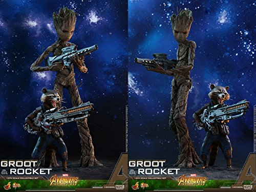 Hot Toys Groot & Rocket (2-in-1 Set) 1/6 Sixth Scale Collectible Action Figure Avengers: Infinity War - Movie Masterpiece Series Marvel Cinematic Universe MCU