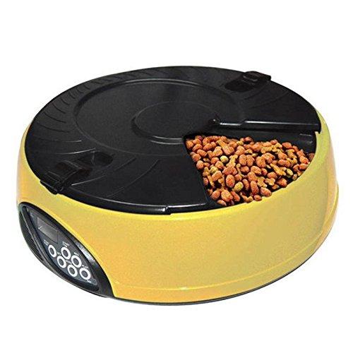 GRH Alimentatore automatico per alimenti per animali domestici, display LCD per alimenti per gatti, dispenser per alimenti per gatti (Colore   giallo)