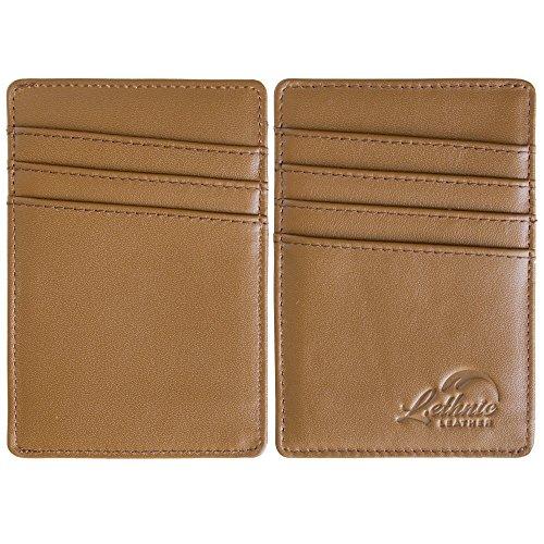 Lethnic Men's Minimalist RFID Front Pocket Slim Wallet - Business Card Holder Wallet - Safe Wallet For Travel - Best gift for Men - Genuine Leather (Dark Brown) Photo #4