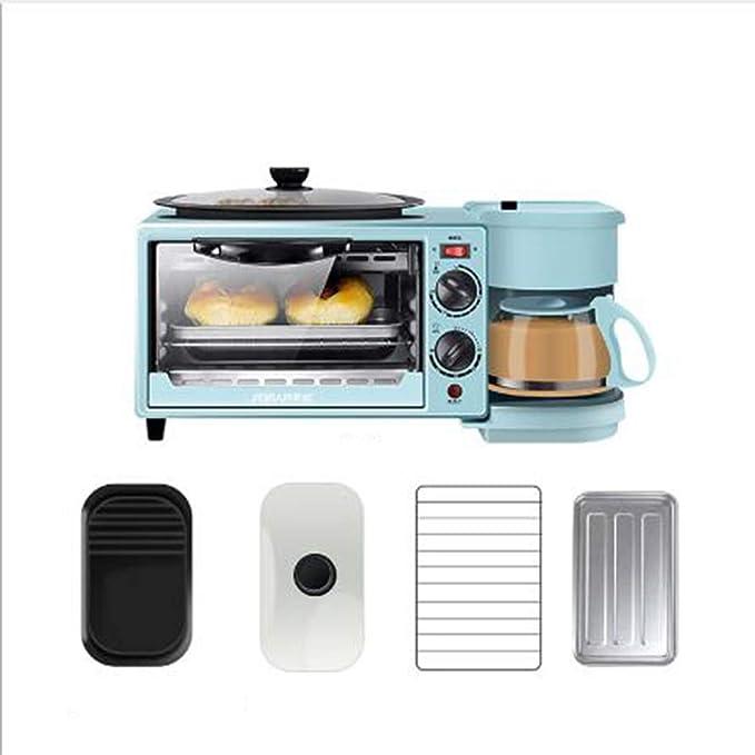 DANYCU Máquina de Desayuno para el hogar, Mini Horno automático de Pan Tres en uno, Cocina Americana de café, función de cocción múltiple y Parrilla, ...