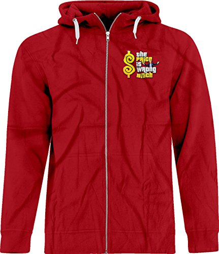 BSW Unisex The Price is Wrong Bob Barker Happy Gilmore Crest Zip Hoodie MED Red