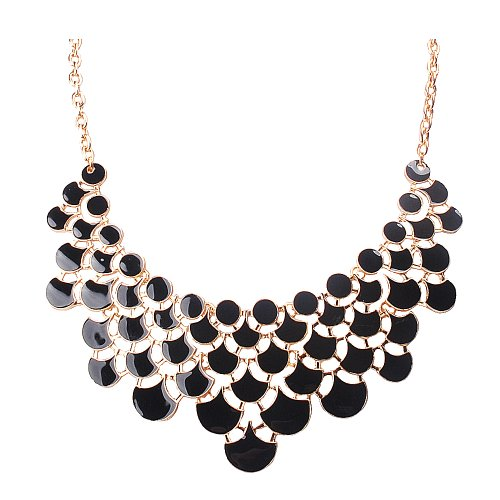 black necklace set gold bib earrings copy