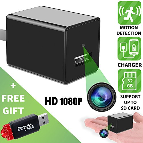Spy Camera - Hidden Camera - Motion Detection - HD 1080P - Usb Hidden Camera - Surveillance Camera - Mini Spy Camera - Nanny Camera - Best Spy camera Charger - Hidden Camera Charger - IMPROVED 2018