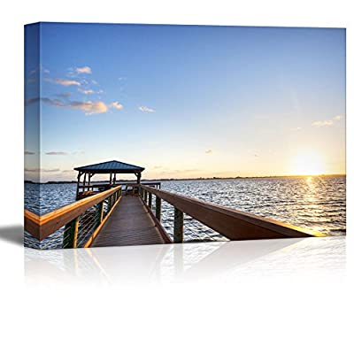 Canvas Prints Wall Art - Indian River in Florida at Sunrise | Modern Home Deoration/Wall Art Giclee Printing Wrapped Canvas Art Ready to Hang - 24