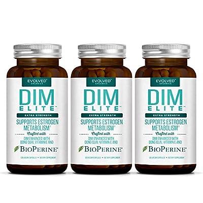 DIM ELITE 250mg plus Dong Quai, Vitamin E & BioPerine (2-4 month supply) - DIM Supplement for Menopause Relief, PCOS Treatment & Hormonal Acne Treatment - Diindolylmethane Aromatase Inhibitor 120 Caps