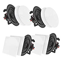 "Pyle 8"" 4 Bluetooth Flush Mount In-wall In-ceiling 2-Way Speaker System Quick Connections Changeable Round/Square Grill Polypropylene Cone & Tweeter Stereo Sound 4 Ch Amplifier 250 Watt (PDICBT286)."