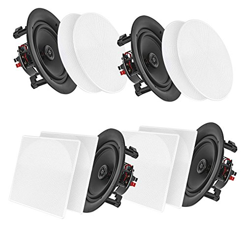 "Pyle 8"" 4 Bluetooth Flush Mount In-wall In-ceiling 2-Way Speaker System Quick Connections Changeable Round/Square Grill Polypropylene Cone & Tweeter Stereo Sound 4 Ch Amplifier 250 Watt (PDICBT286) by Pyle"