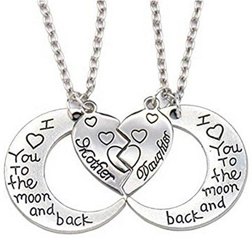 wassana La lune et le dos mère fille amour coeur pendentif collier Bijoux de famille